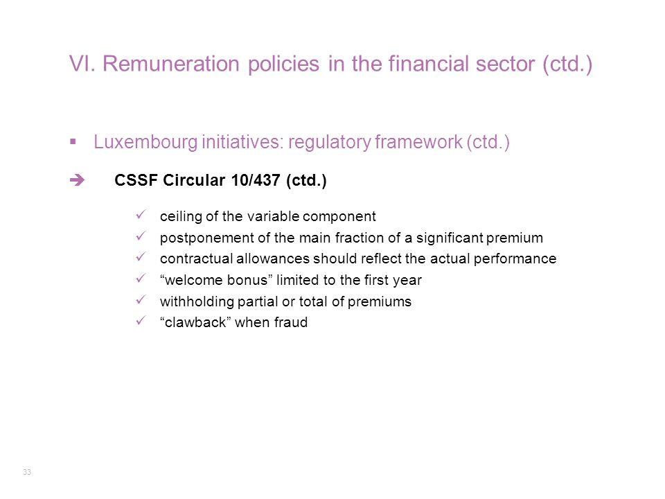 33 VI. Remuneration policies in the financial sector (ctd.)  Luxembourg initiatives: regulatory framework (ctd.)  CSSF Circular 10/437 (ctd.) ceilin