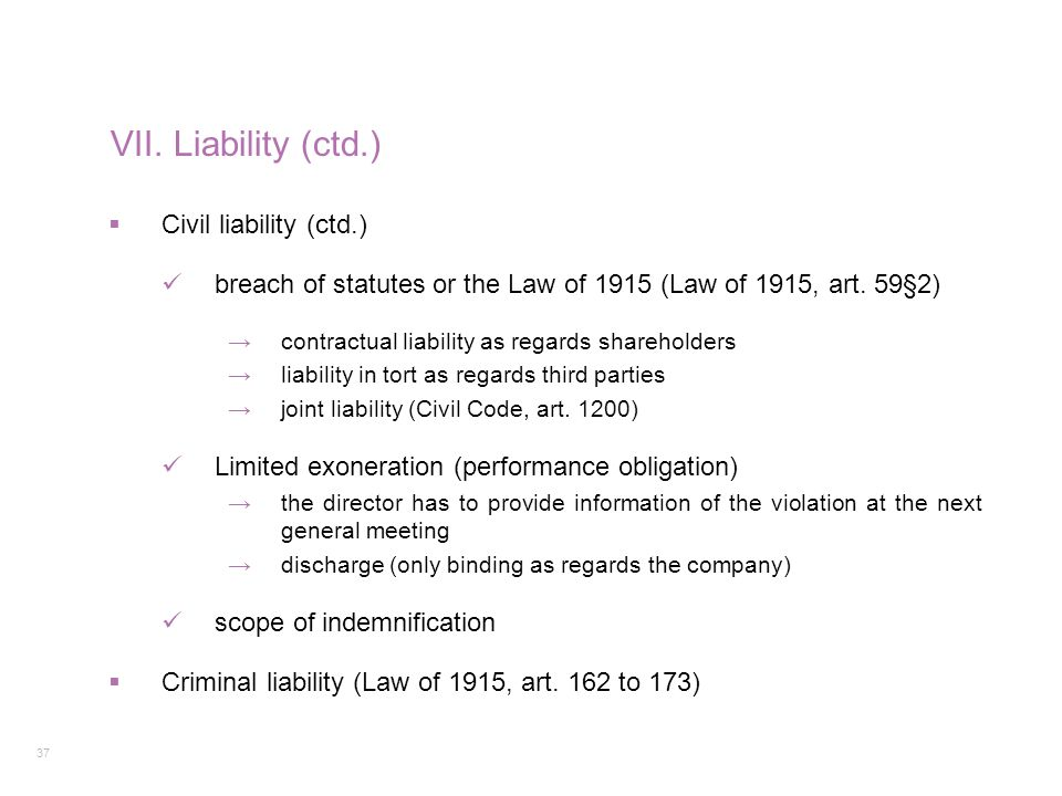 37 VII. Liability (ctd.)  Civil liability (ctd.) breach of statutes or the Law of 1915 (Law of 1915, art. 59§2) →contractual liability as regards sha
