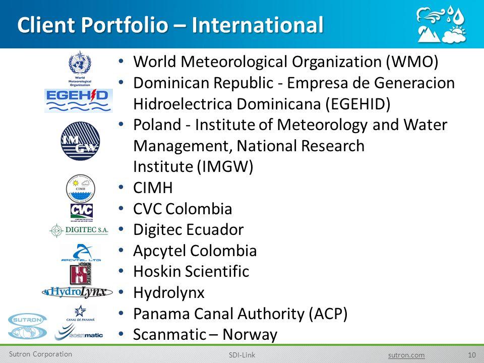 10 Sutron Corporation SDI-Linksutron.com Client Portfolio – International World Meteorological Organization (WMO) Dominican Republic - Empresa de Gene
