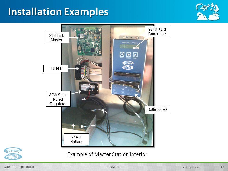 13 Sutron Corporation SDI-Linksutron.com Installation Examples Example of Master Station Interior 9210 XLite Datalogger SDI-Link Master 30W Solar Pane