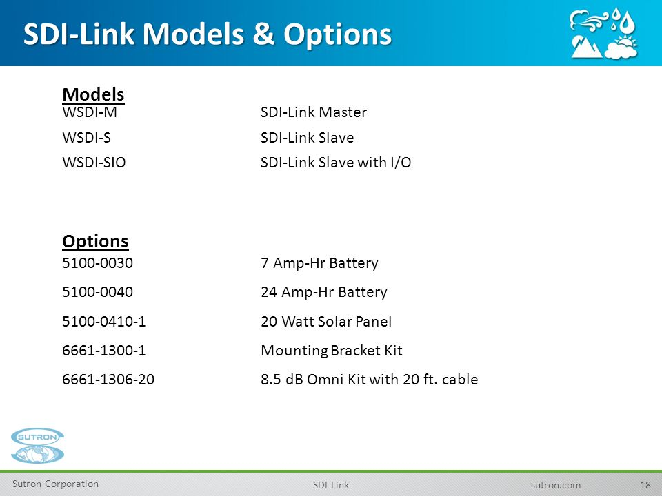 18 Sutron Corporation SDI-Linksutron.com SDI-Link Models & Options Models WSDI-M SDI-Link Master WSDI-S SDI-Link Slave WSDI-SIO SDI-Link Slave with I/