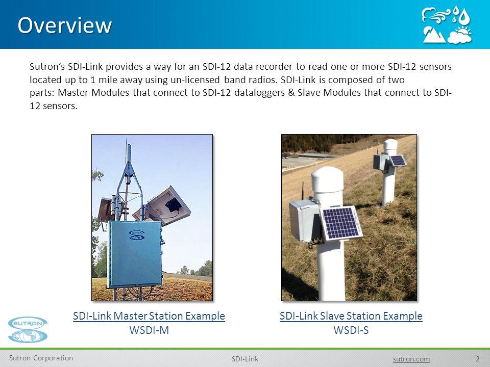 2 Sutron Corporation SDI-Linksutron.com Sutron's SDI-Link provides a way for an SDI-12 data recorder to read one or more SDI-12 sensors located up to