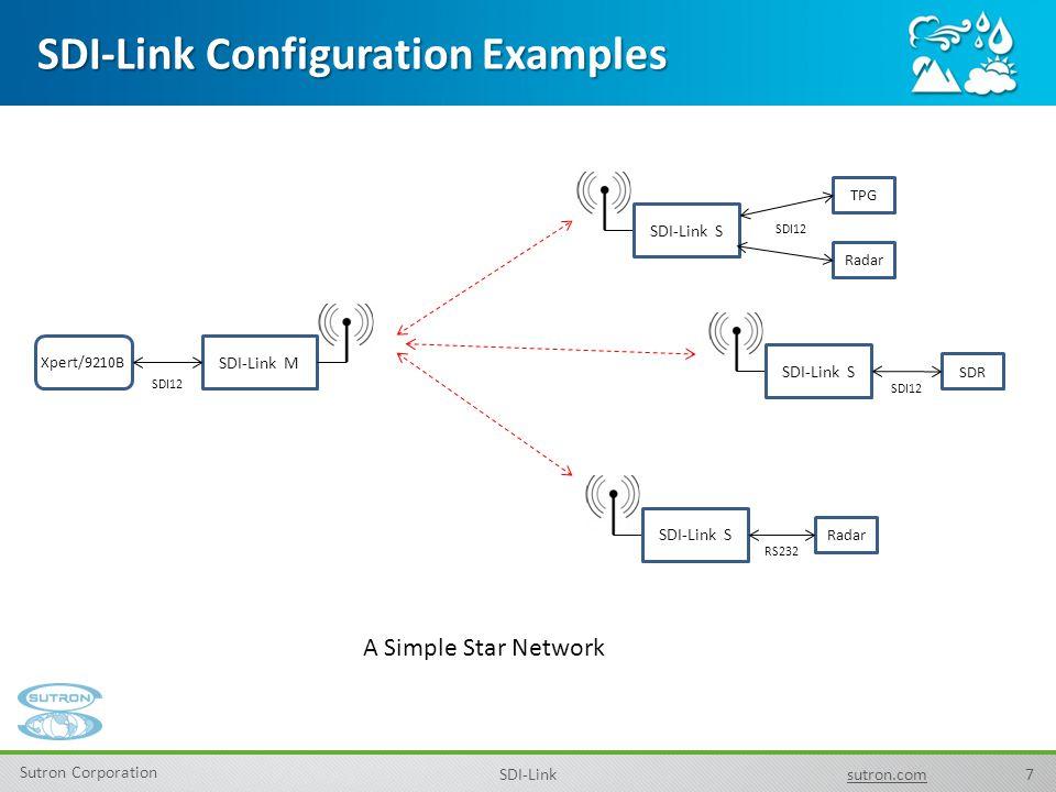 7 Sutron Corporation SDI-Linksutron.com SDI-Link Configuration Examples Xpert/9210B SDI-Link M SDI-Link S SDR SDI12 A Simple Star Network SDI-Link S R