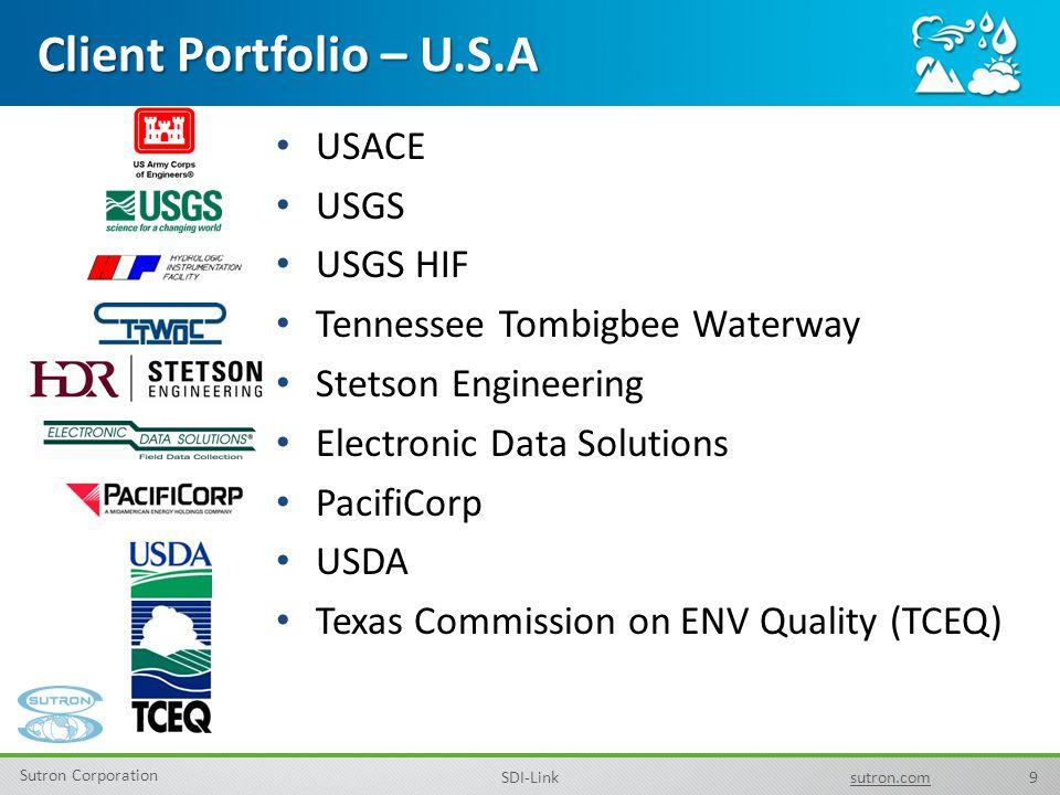 9 Sutron Corporation SDI-Linksutron.com USACE USGS USGS HIF Tennessee Tombigbee Waterway Stetson Engineering Electronic Data Solutions PacifiCorp USDA