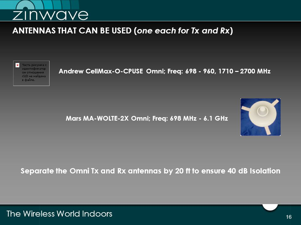 The Wireless World Indoors 16 ANTENNAS THAT CAN BE USED ( one each for Tx and Rx ) Andrew CellMax-O-CPUSE Omni; Freq: 698 - 960, 1710 – 2700 MHz Mars
