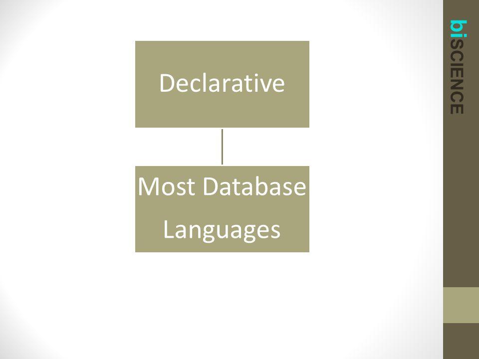 bi SCIENCE Declarative Most Database Languages