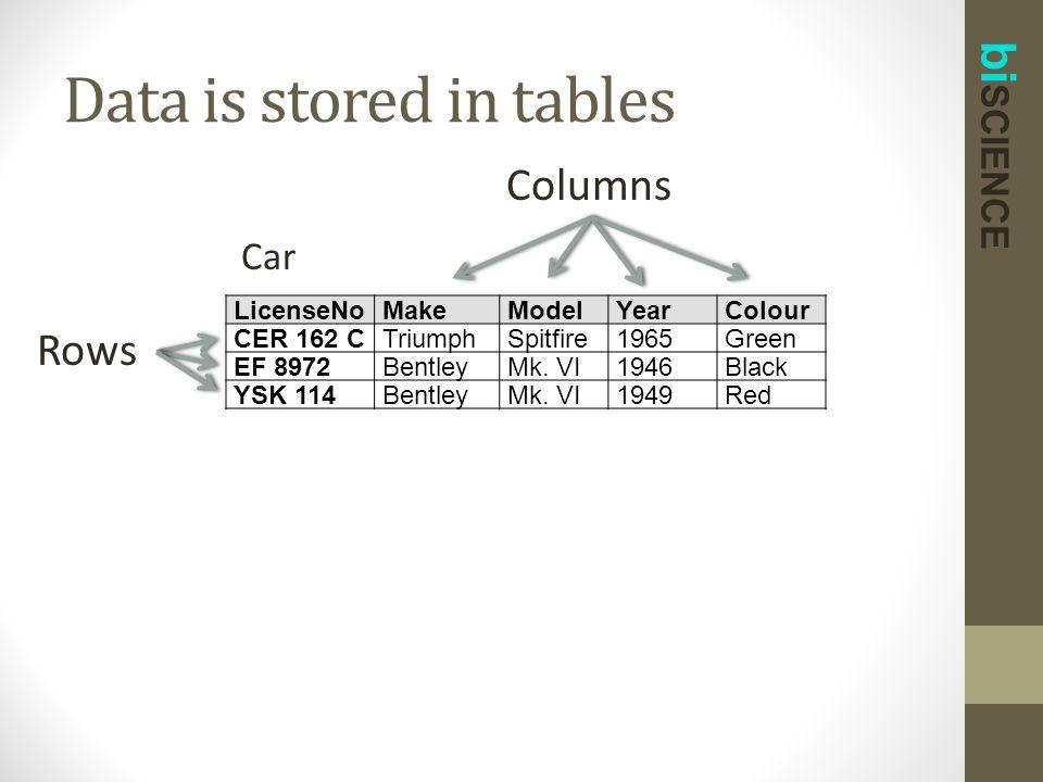 bi SCIENCE Data is stored in tables LicenseNoMakeModelYearColour CER 162 CTriumphSpitfire1965Green EF 8972BentleyMk.