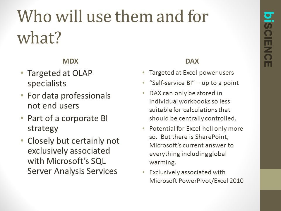 bi SCIENCE Who will use them and for what? MDX Targeted at OLAP specialists For data professionals not end users Part of a corporate BI strategy Close