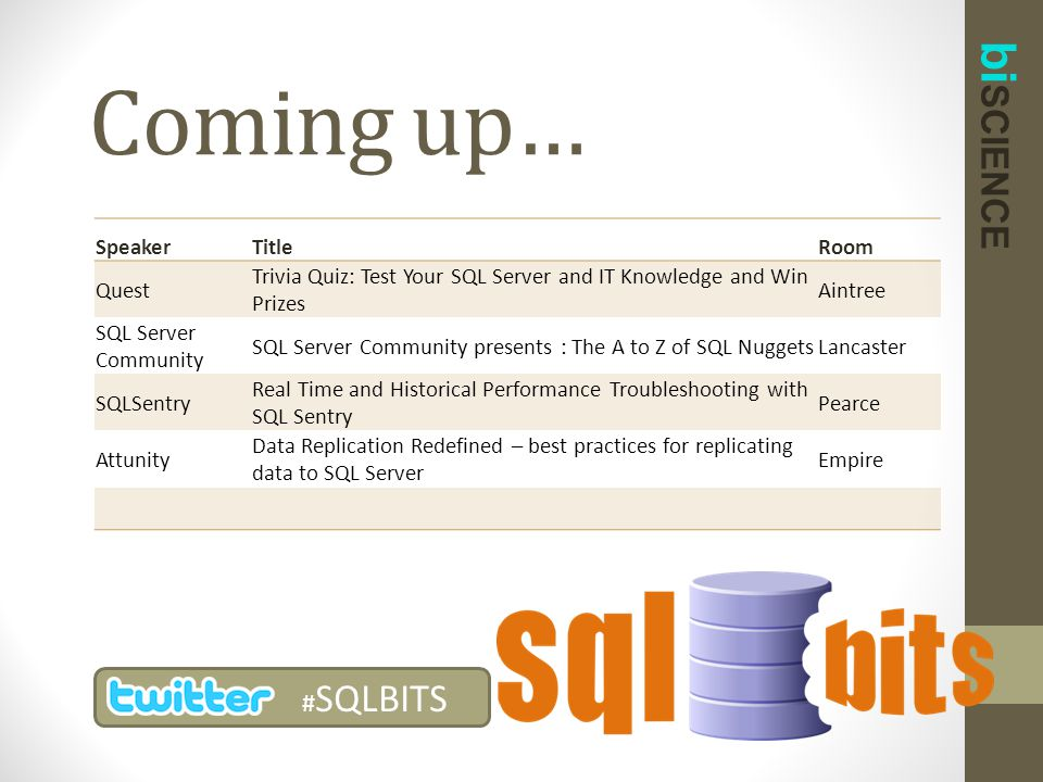 bi SCIENCE Coming up… # SQLBITS SpeakerTitleRoom Quest Trivia Quiz: Test Your SQL Server and IT Knowledge and Win Prizes Aintree SQL Server Community
