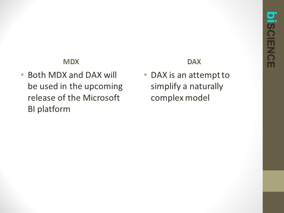 bi SCIENCE MDX Both MDX and DAX will be used in the upcoming release of the Microsoft BI platform DAX DAX is an attempt to simplify a naturally comple
