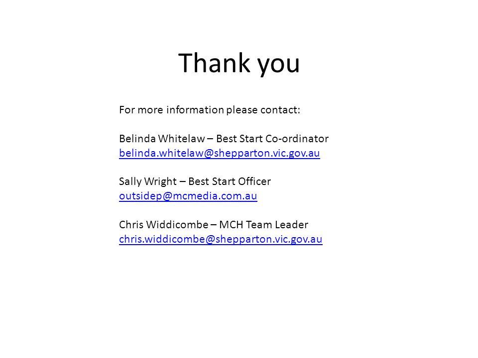 Thank you For more information please contact: Belinda Whitelaw – Best Start Co-ordinator belinda.whitelaw@shepparton.vic.gov.au Sally Wright – Best Start Officer outsidep@mcmedia.com.au Chris Widdicombe – MCH Team Leader chris.widdicombe@shepparton.vic.gov.au