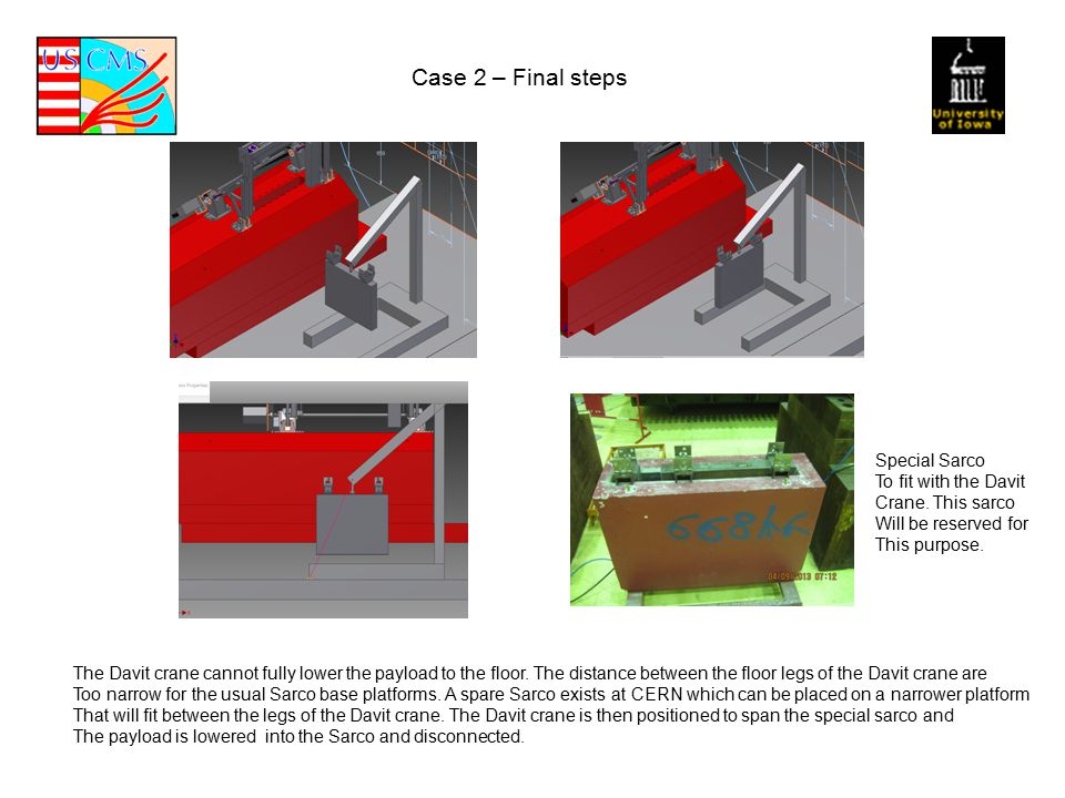 Case 2 – Final steps The Davit crane cannot fully lower the payload to the floor.