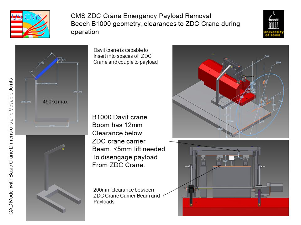 CMS ZDC Crane Emergency Payload Removal Beech B1000 geometry, clearances to ZDC Crane during operation B1000 Davit crane Boom has 12mm Clearance below ZDC crane carrier Beam.
