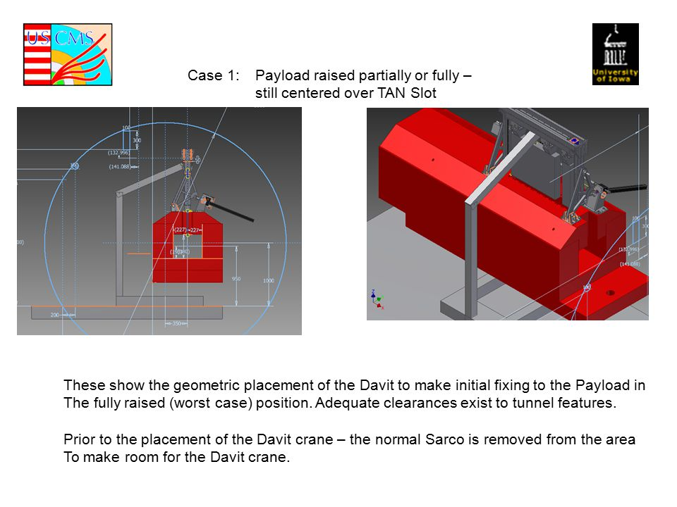 Case 1: Payload raised partially or fully – still centered over TAN Slot These show the geometric placement of the Davit to make initial fixing to the Payload in The fully raised (worst case) position.