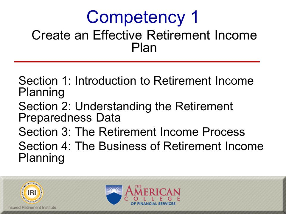 Retirement Income Planning No industry consensus on retirement income planning –Lack of common definitions, use of terminology –No common definition of retirement income planning –Different approaches used by advisors Our group had no difficulty finding consensus on the following –Solutions have to go across industry silos –A plan is more than a spreadsheet printout showing that the plan has an 83% chance of success LO 1-1-1