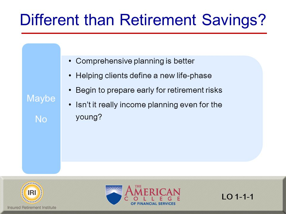 Reemployment Risk Facts EBRI work in retirement –2013 expecting to work 69% –2013 retirees actually working 25% Reasons for work in retirement (2010 RCS) –Almost all gave a positive reason for working stay active and involved (92 percent) enjoyed working (86 percent) –Those working solely for nonfinancial reasons is small –Ninety percent identified at least one financial reason LO 5-4-2 Reemployment Risk