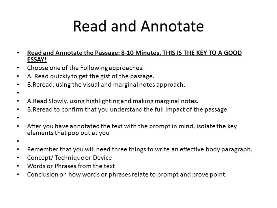 Read and Annotate Read and Annotate the Passage: 8-10 Minutes.