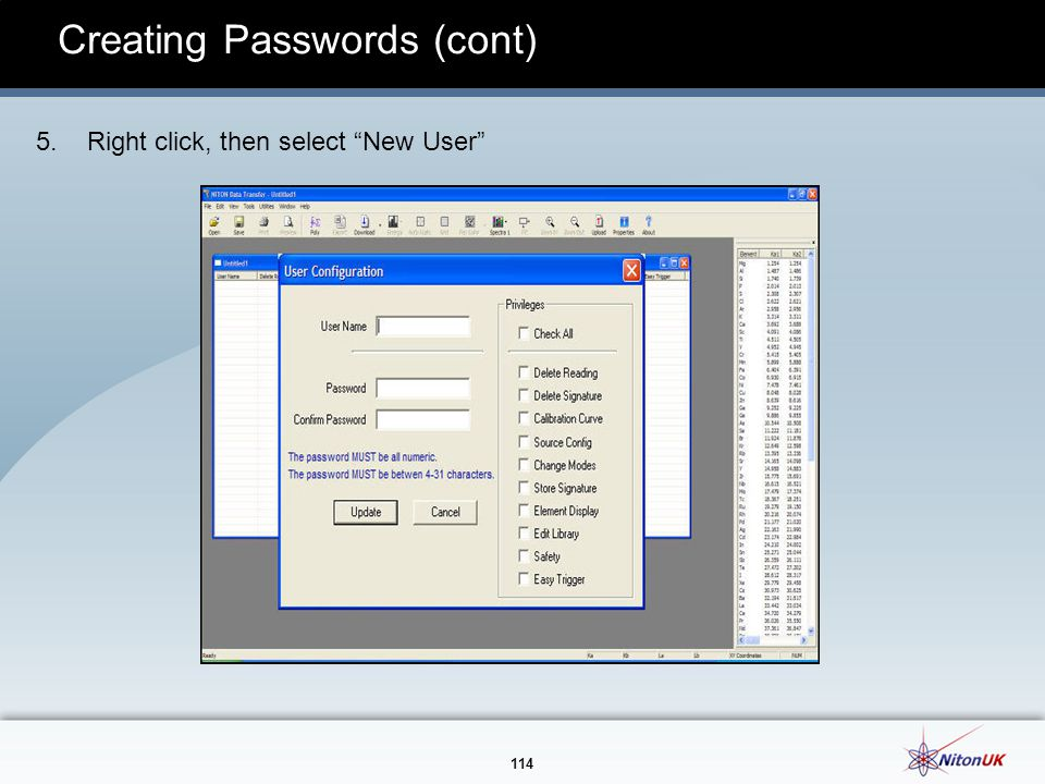 114 Creating Passwords (cont) 5. Right click, then select New User