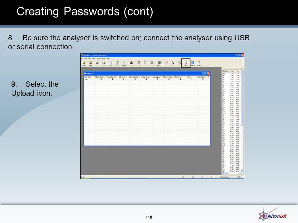 118 Creating Passwords (cont) 8.