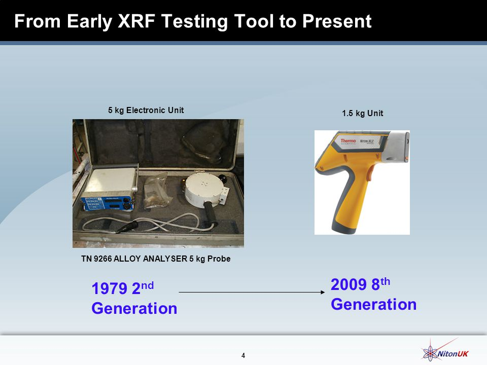 4 From Early XRF Testing Tool to Present 1979 2 nd Generation 2009 8 th Generation TN 9266 ALLOY ANALYSER 5 kg Probe 5 kg Electronic Unit 1.5 kg Unit
