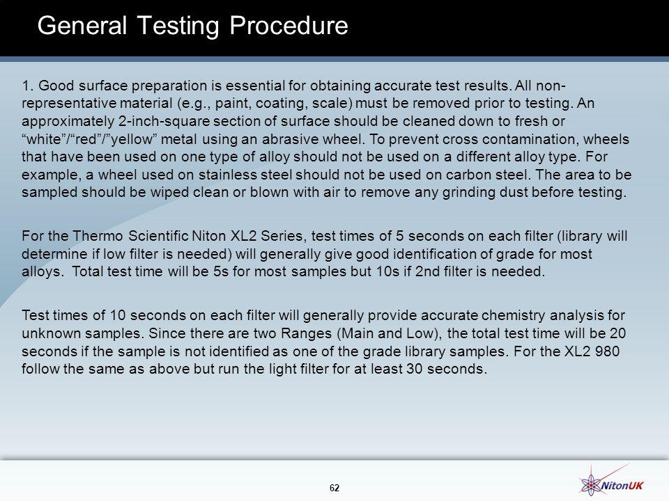 62 General Testing Procedure 1.