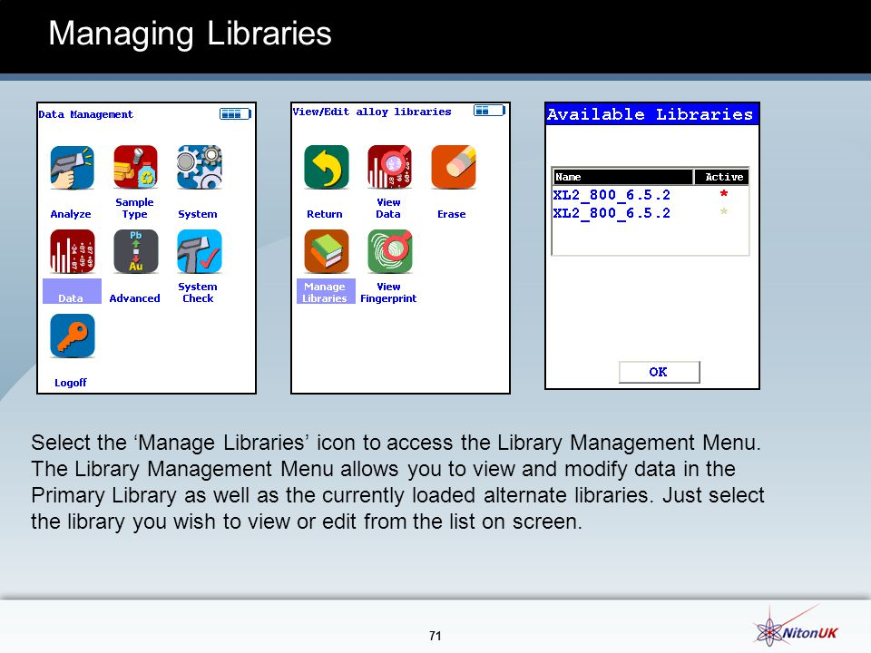 71 Managing Libraries Select the 'Manage Libraries' icon to access the Library Management Menu.