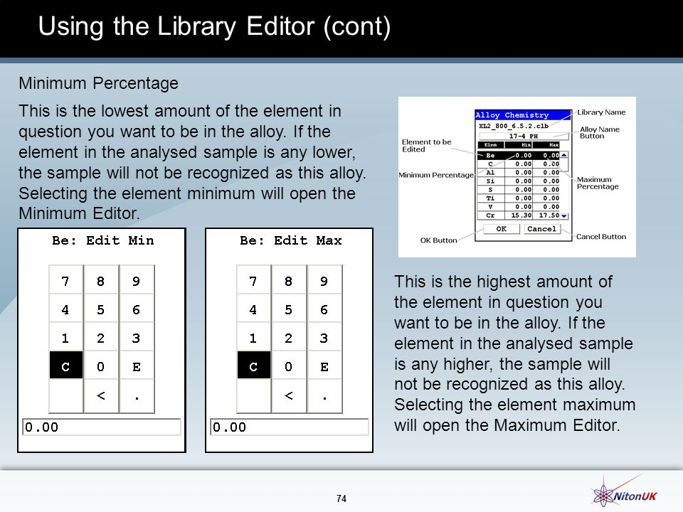 74 Using the Library Editor (cont) Minimum Percentage This is the lowest amount of the element in question you want to be in the alloy.