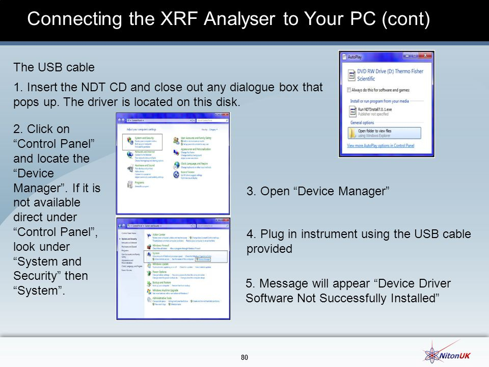 80 Connecting the XRF Analyser to Your PC (cont) The USB cable 1.