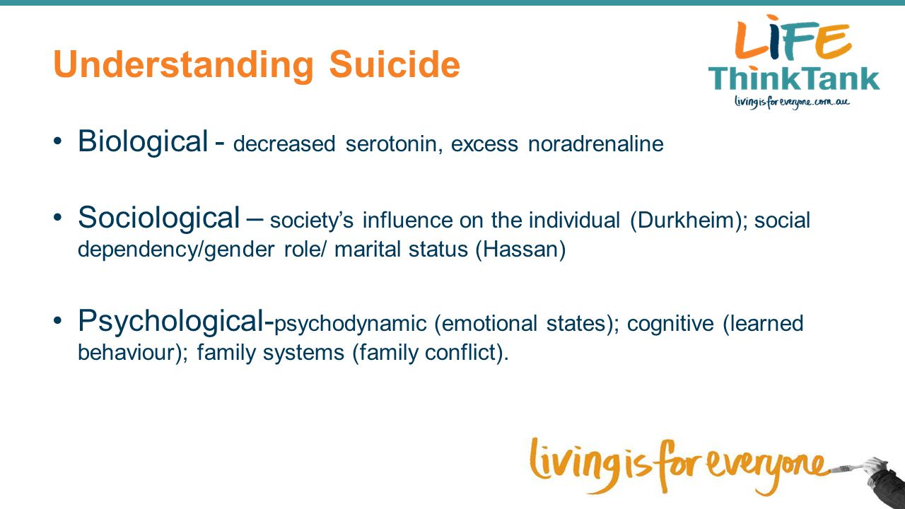 Understanding Suicide Biological - decreased serotonin, excess noradrenaline Sociological – society's influence on the individual (Durkheim); social d