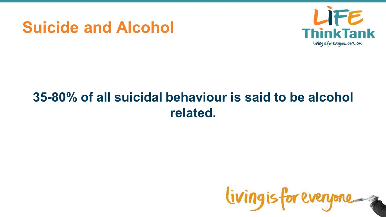 Suicide and Alcohol 35-80% of all suicidal behaviour is said to be alcohol related.