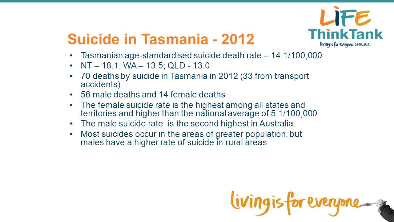 Suicide in Tasmania - 2012 Tasmanian age-standardised suicide death rate – 14.1/100,000 NT – 18.1; WA – 13.5; QLD - 13.0 70 deaths by suicide in Tasma