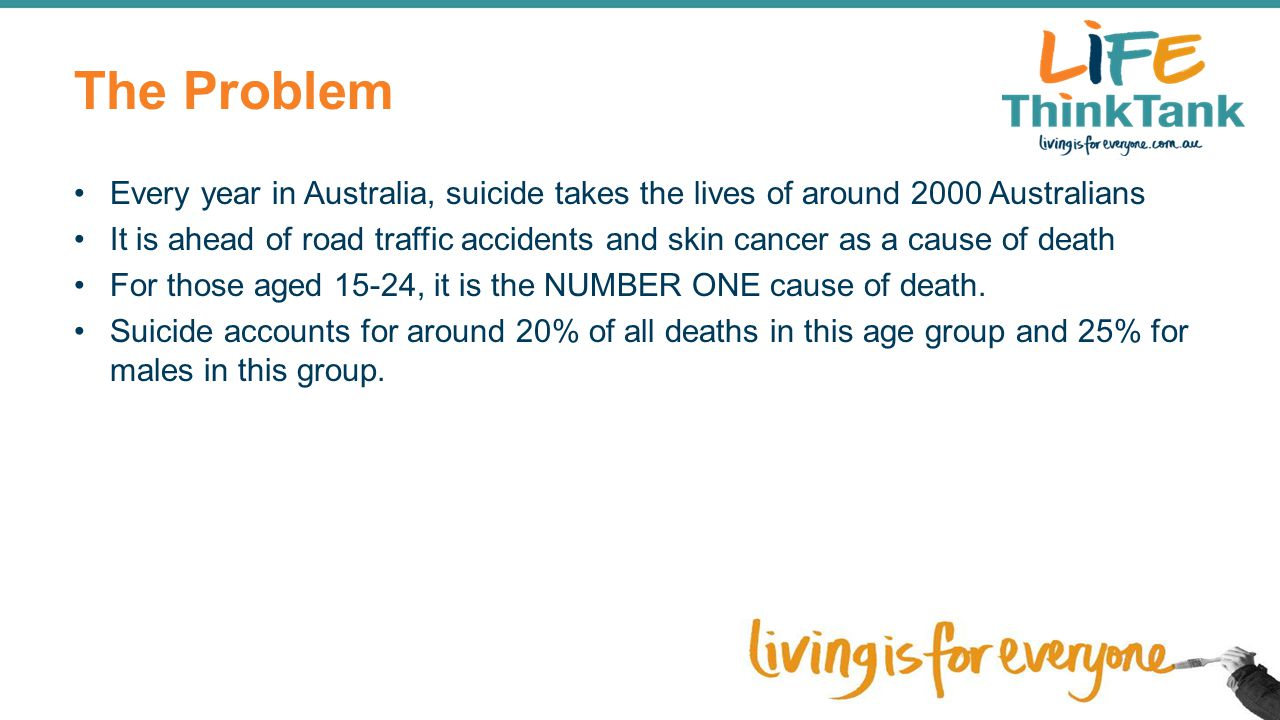 Tasmanian Context Tasmanian Suicide Prevention Strategy 2010-2014 was launched in December 2010.