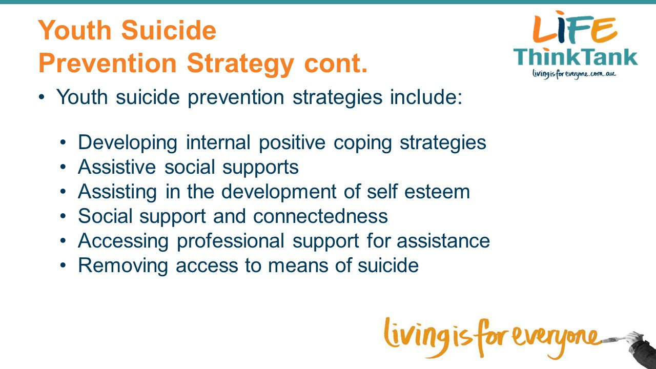 Youth Suicide Prevention Strategy cont. Youth suicide prevention strategies include: Developing internal positive coping strategies Assistive social s