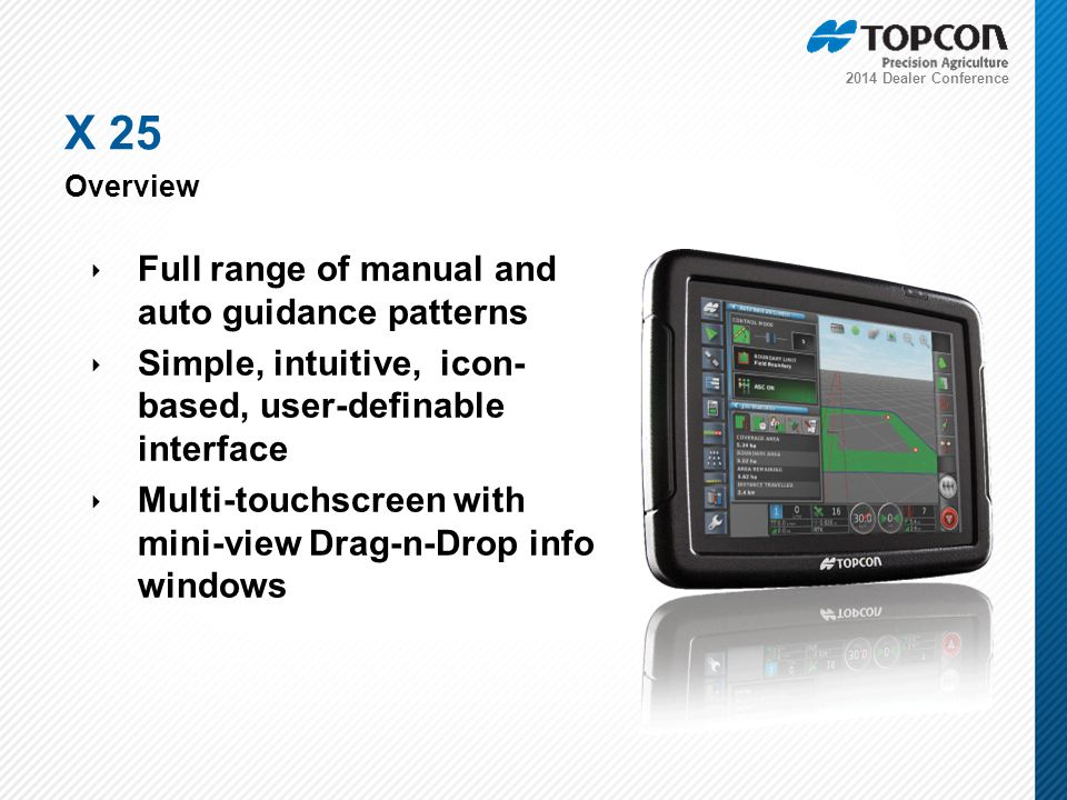 2014 Dealer Conference ‣ Full range of manual and auto guidance patterns ‣ Simple, intuitive, icon- based, user-definable interface ‣ Multi-touchscreen with mini-view Drag-n-Drop info windows X 25 Overview