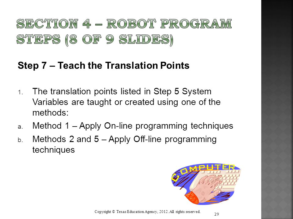 Step 7 – Teach the Translation Points 1.