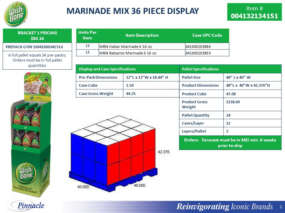 2 2 MARINADE MIX 36 PIECE DISPLAY BRACKET 1 PRICING $83.16 PREPACK GTIN 10041000341516 A full pallet equals 24 pre-packs; Orders must be in full pallet quantities Units Per Item Item DescriptionCase UPC Code 18 WBN Italian Marinade 6 16 oz041000203886 18 WBN Balsamic Marinade 6 16 oz041000203893 Pallet Specifications Pallet Size48 L x 40 W Product Dimensions 48 L x 40 W x 42.376 H Product Cube 47.08 Product Gross Weight 1138.00 Pallet Quantity 24 Cases/Layer 12 Layers/Pallet 2 Orders: Forecast must be in MEI min.