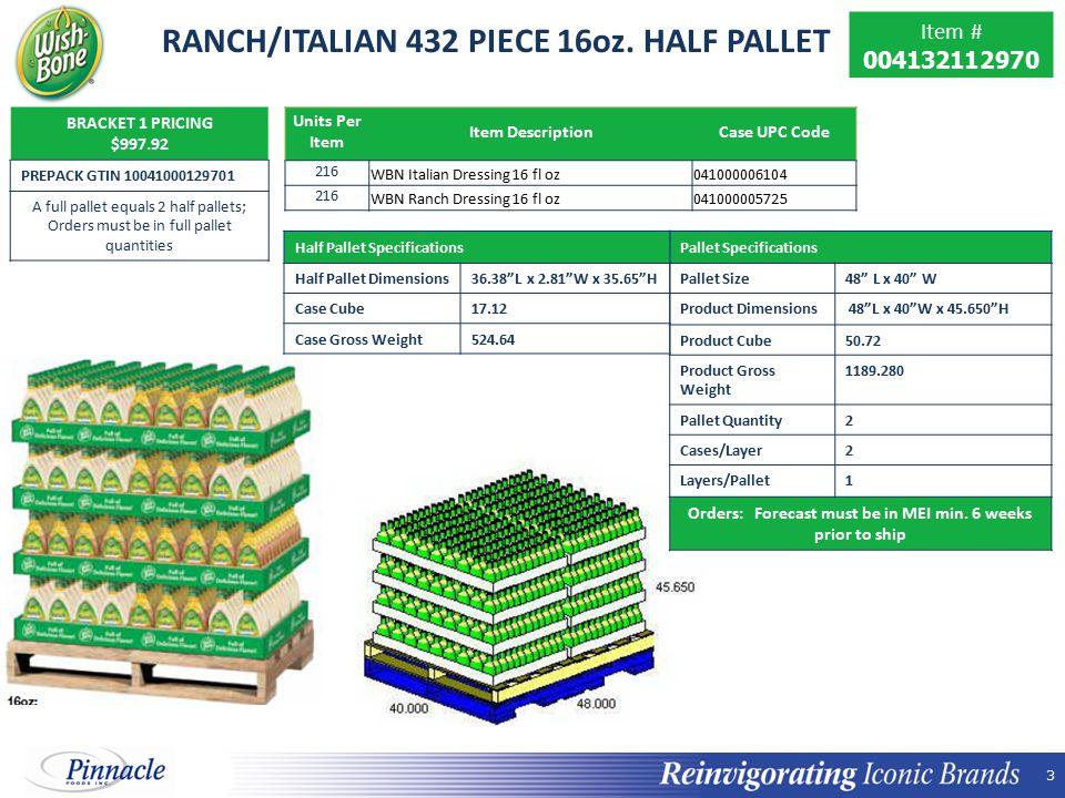 3 3 RANCH/ITALIAN 432 PIECE 16oz.
