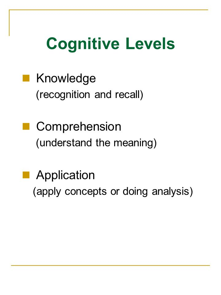 Cognitive Levels Knowledge (recognition and recall) Comprehension (understand the meaning) Application (apply concepts or doing analysis)