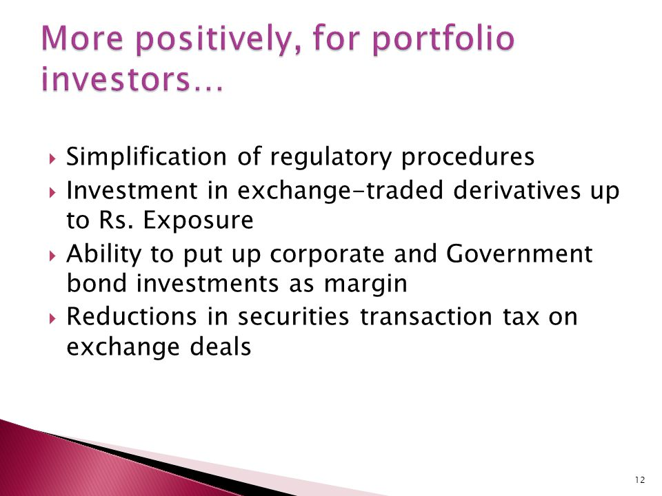  Simplification of regulatory procedures  Investment in exchange-traded derivatives up to Rs.