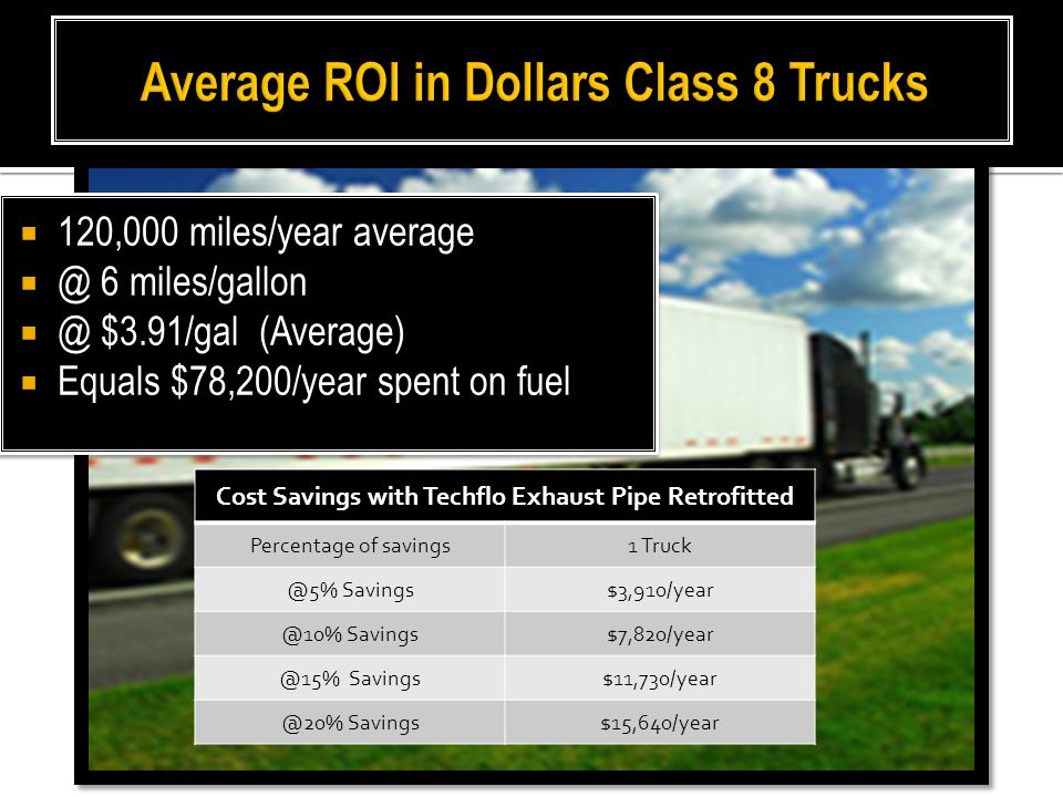  120,000 miles/year average  @ 6 miles/gallon  @ $3.91/gal (Average)  Equals $78,200/year spent on fuel  120,000 miles/year average  @ 6 miles/gallon  @ $3.91/gal (Average)  Equals $78,200/year spent on fuel Cost Savings with Techflo Exhaust Pipe Retrofitted Percentage of savings1 Truck @5% Savings$3,910/year @10% Savings$7,820/year @15% Savings$11,730/year @20% Savings$15,640/year