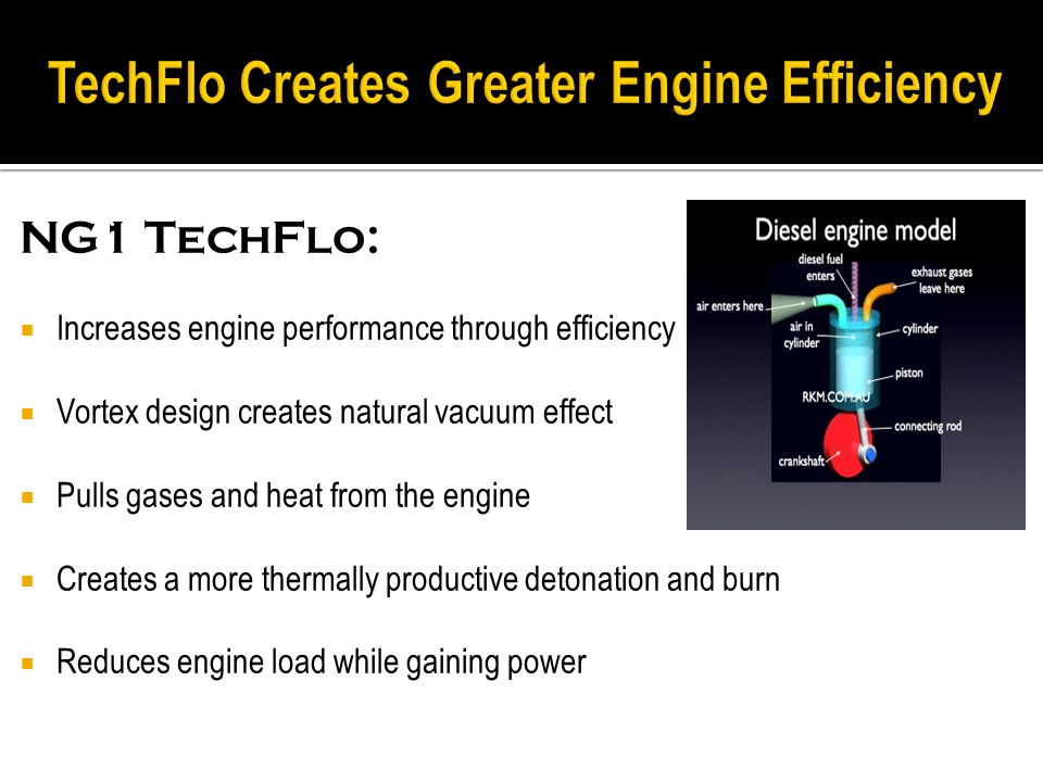NG1 TechFlo:  Increases engine performance through efficiency  Vortex design creates natural vacuum effect  Pulls gases and heat from the engine  Creates a more thermally productive detonation and burn  Reduces engine load while gaining power