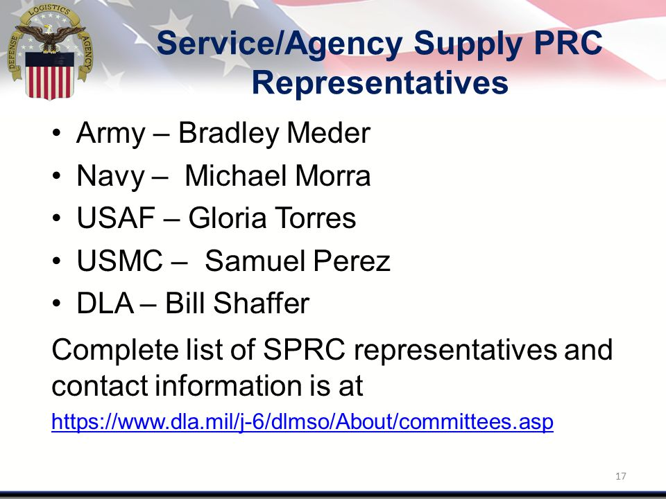 Service/Agency Supply PRC Representatives Army – Bradley Meder Navy – Michael Morra USAF – Gloria Torres USMC – Samuel Perez DLA – Bill Shaffer Comple