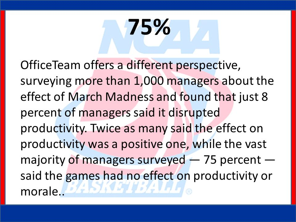 75% OfficeTeam offers a different perspective, surveying more than 1,000 managers about the effect of March Madness and found that just 8 percent of managers said it disrupted productivity.
