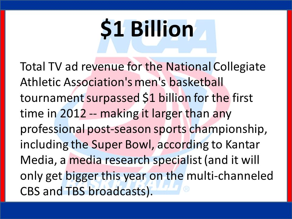 $1 Billion Total TV ad revenue for the National Collegiate Athletic Association s men s basketball tournament surpassed $1 billion for the first time in 2012 -- making it larger than any professional post-season sports championship, including the Super Bowl, according to Kantar Media, a media research specialist (and it will only get bigger this year on the multi-channeled CBS and TBS broadcasts).