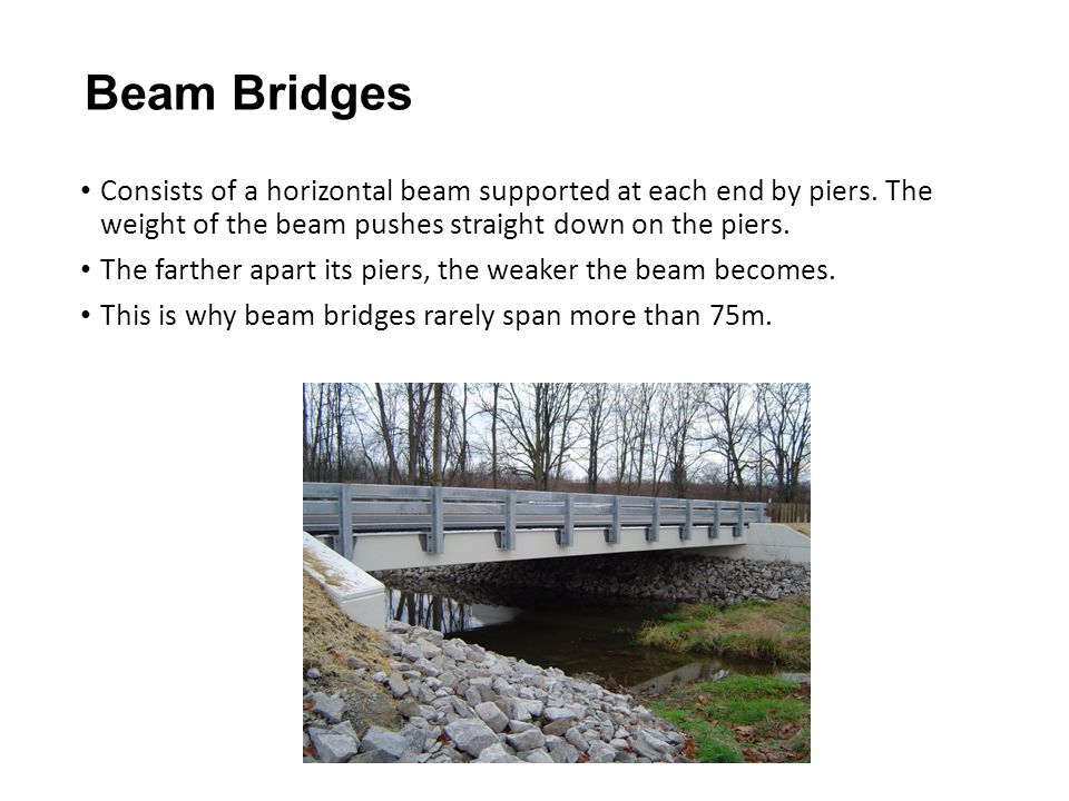 Beam Bridges Consists of a horizontal beam supported at each end by piers. The weight of the beam pushes straight down on the piers. The farther apart