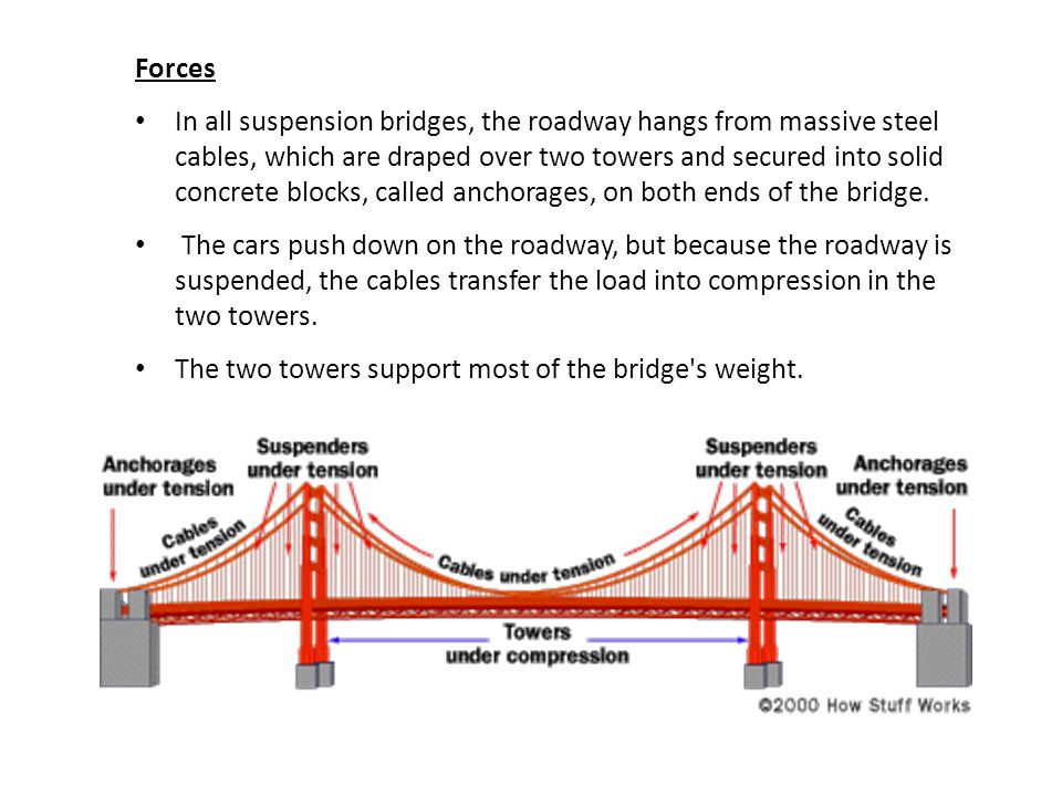 Forces In all suspension bridges, the roadway hangs from massive steel cables, which are draped over two towers and secured into solid concrete blocks