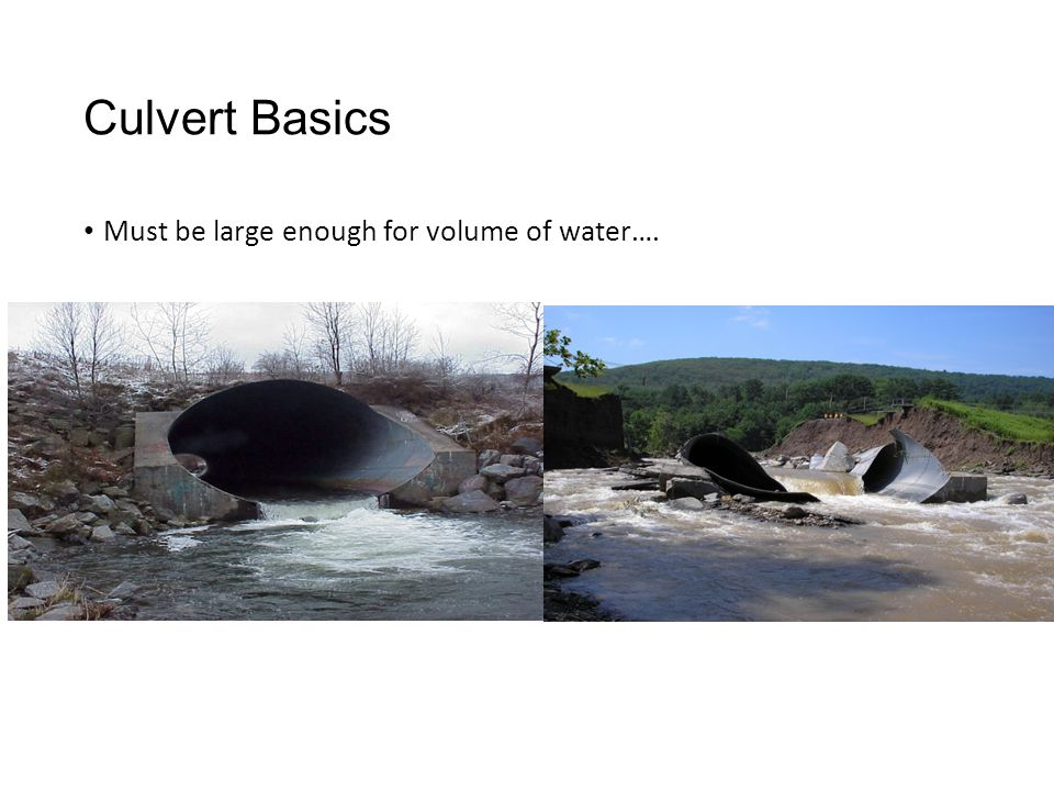 Culvert Basics Must be large enough for volume of water….