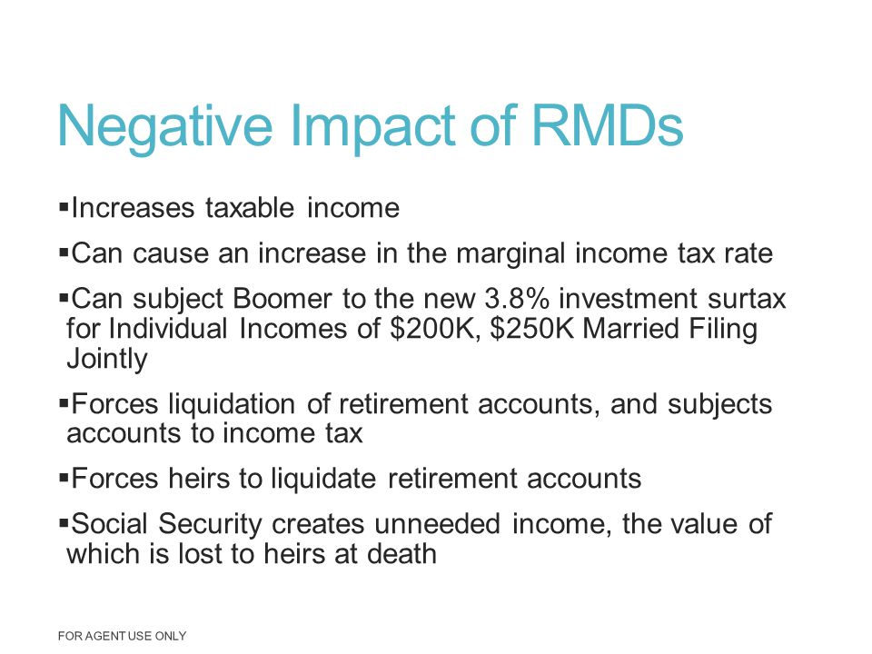 Negative Impact of RMDs  Increases taxable income  Can cause an increase in the marginal income tax rate  Can subject Boomer to the new 3.8% invest