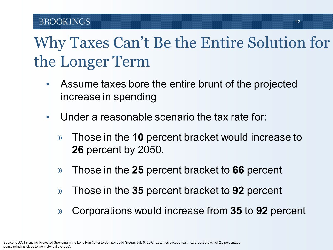 12 Why Taxes Can't Be the Entire Solution for the Longer Term Assume taxes bore the entire brunt of the projected increase in spending Under a reasonable scenario the tax rate for: »Those in the 10 percent bracket would increase to 26 percent by 2050.