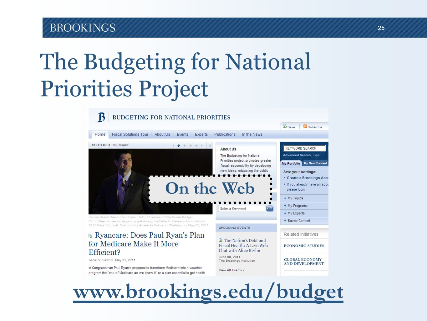 25 The Budgeting for National Priorities Project www.brookings.edu/budget On the Web